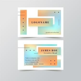 Modello di biglietto da visita con colori sfumati