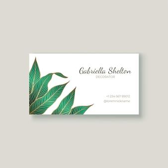 Biglietto da visita con foglie