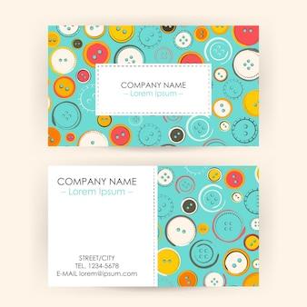 Biglietto da visita con bottoni da cucire. illustrazione vettoriale di identità aziendale. affari di moda