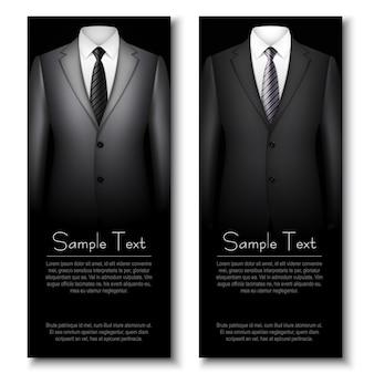 Biglietti da visita con abiti eleganti grigi e neri.