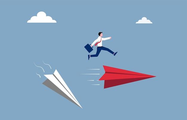 Concetto di percorso di carriera e di affari. l'uomo d'affari salta sopra la nuova illustrazione dell'aereo di carta.