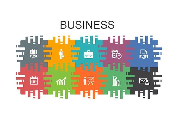 Modello di cartone animato di affari con elementi piatti. contiene icone come uomo d'affari, valigetta, calendario, grafico