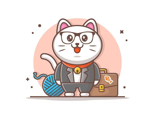 Illustrazione di carattere gatto di affari