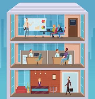 Centro affari. edificio per uffici persone occupate attività quotidiana aperto spazio di lavoro manager business edificio sezione trasversale piano sfondo vettoriale. illustrazione del centro interno dell'edificio per uffici