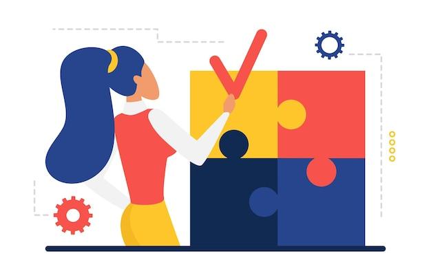Il risultato della sfida aziendale è stato completato leader della donna d'affari che tiene in mano un pezzo di puzzle Vettore Premium