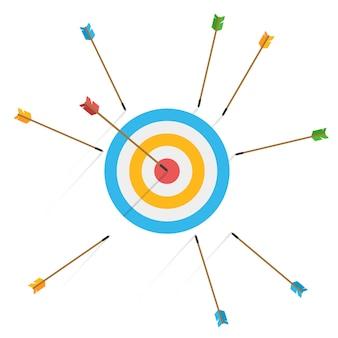 Concetto di fallimento sfida aziendale. molte frecce hanno mancato il bersaglio e solo una colpisce il centro. colpo mancato. tentativi imprecisi falliti di colpire il bersaglio di tiro con l'arco.