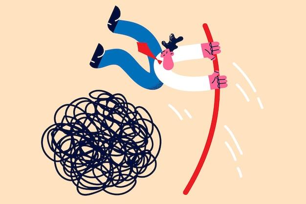 Sfida aziendale e concetto di leadership. il giovane uomo d'affari positivo che salta con il bastone sopra il cerchio disordinato dei problemi e delle sfide vector l'illustrazione