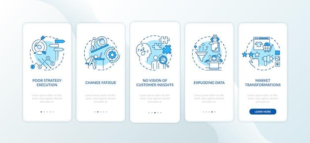 Sfide aziendali nell'onboarding della schermata della pagina dell'app mobile con concetti.