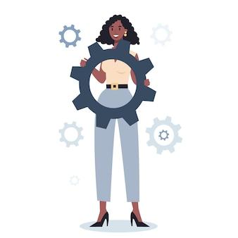 Chiave e attrezzi della tenuta del carattere di affari. idea di impiegato che lavora in modo produttivo e si muove verso il successo. partnership e collaborazione.