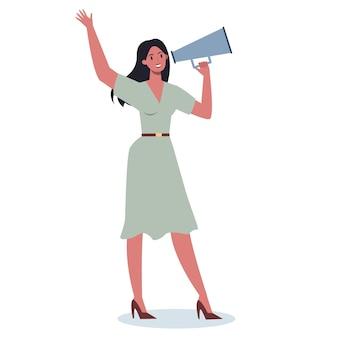 Carattere aziendale in piedi con il megafono. fare promozione speciale con altoparlante. l'altoparlante fa l'annuncio. ottenere l'attenzione del cliente.