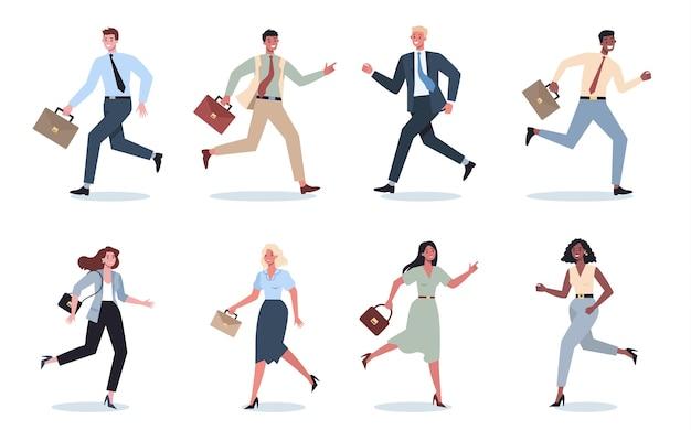 Carattere aziendale con set da corsa valigetta. uomo o donna di affari che corre in fretta. impiegato felice e di successo in un vestito.