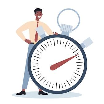 Carattere aziendale con un orologio. efficacia e pianificazione del lavoro. concetto di gestione del tempo produttivo. pianificazione delle attività, pianificazione di un programma settimanale.