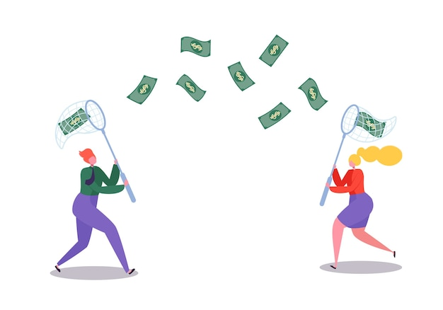 Personaggi aziendali che catturano soldi volanti con una rete per farfalle. successo finanziario, opportunità di business, concetto di ricchezza.