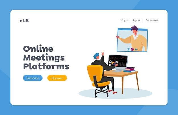 Modello di pagina di destinazione della riunione online di personaggi aziendali. impiegato seduto alla scrivania in chat con un collega tramite webcam sullo schermo del computer