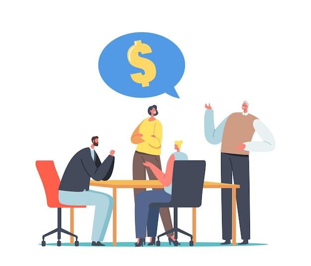 Personaggi aziendali alla ricerca di opportunità di investimento globale durante la riunione del consiglio di amministrazione