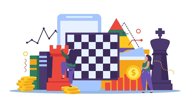 Illustrazione della strategia aziendale e degli scacchi