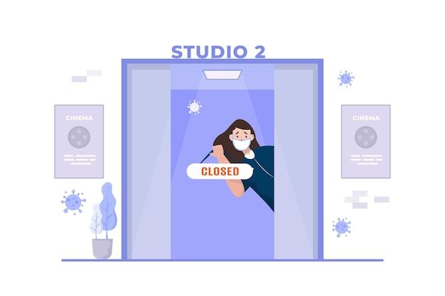I cinema aziendali chiusi durante l'illustrazione della pandemia