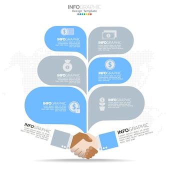 Elementi infografici del circolo aziendale con 6 opzioni o passaggi.