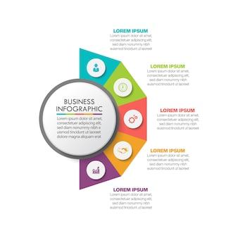 Modello di infographic del cerchio di affari