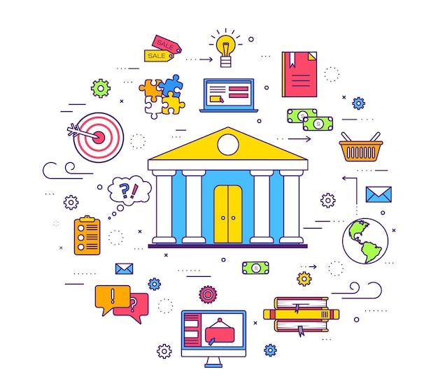 Modello di linee sottili di infographics del cerchio di affari. icone per le applicazioni mobili del prodotto.