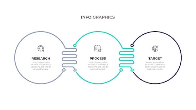 Modello grafico di informazioni di linea sottile del cerchio di affari. processo temporale con 3 opzioni o passaggi.