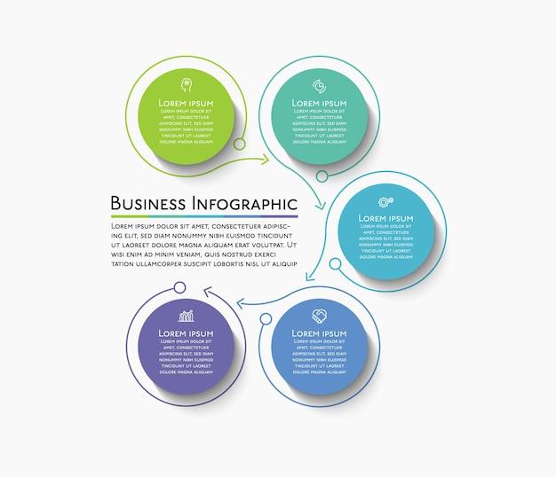 Icone infografiche timeline del circolo aziendale progettate per il modello di sfondo astratto