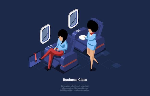 Illustrazione di business class. composizione isometrica con personaggi persone all'interno dell'aereo durante il volo