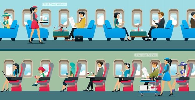 Un aereo passeggeri di classe business con servizio di assistente di cabina.
