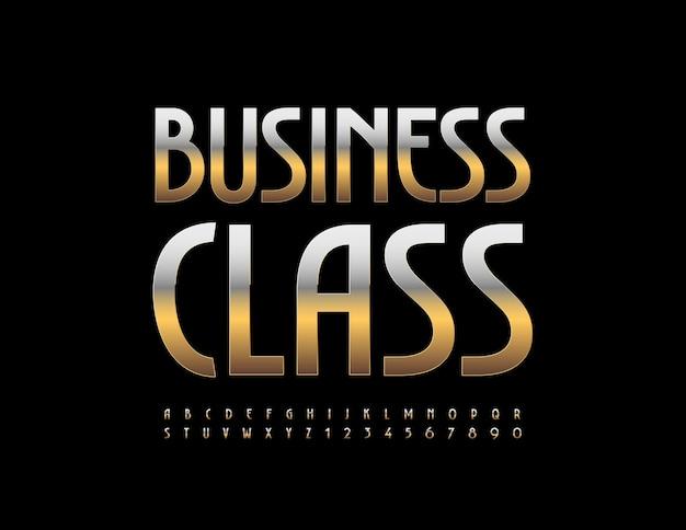 Business class con lettere e numeri dell'alfabeto eleganti impostati con caratteri dorati metallici