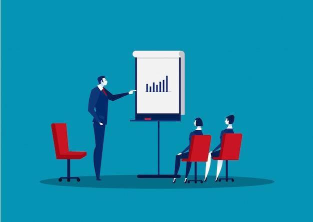 Corsi di coaching aziendale classe di analisi dei dati, illustrazione vettoriale