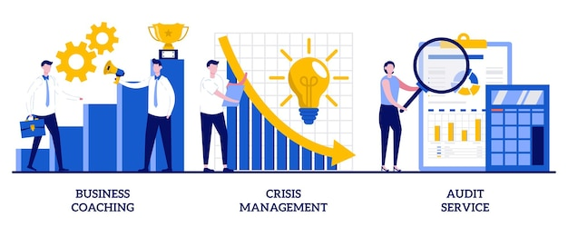 Coaching aziendale, gestione delle crisi, concetto di servizio di audit con illustrazione di persone minuscole