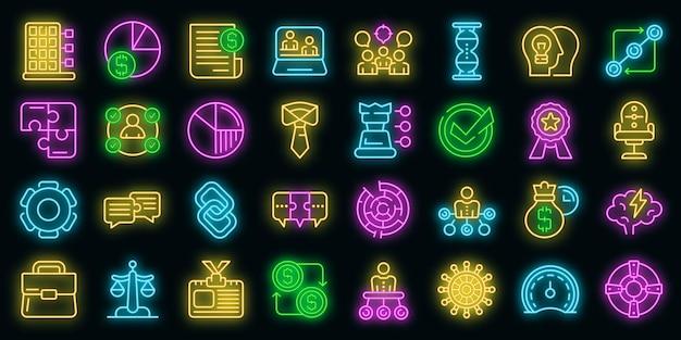 Le icone di collaborazione aziendale hanno impostato il vettore neon