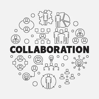 Illustrazione al tratto sottile rotondo di collaborazione di affari