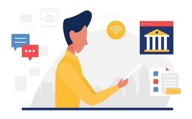 Concetto di servizio di supporto bancario per conto di comunicazione aziendale call center bancario