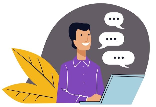 Comunicazione aziendale con clienti e clienti. uomo che lavora in ufficio seduto al computer, spazio di lavoro del personaggio maschile. discussioni e corrispondenza via e-mail. vettore in stile piatto