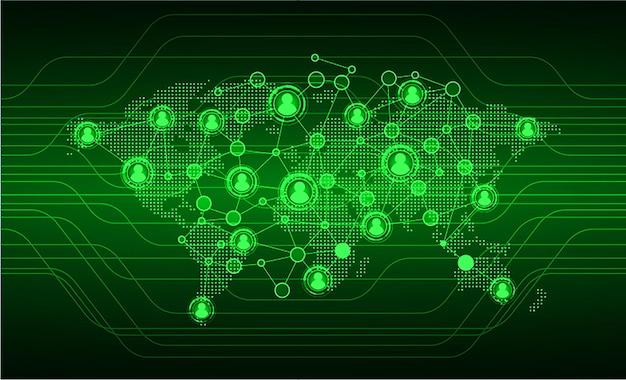 Rete di comunità d'affari con l'uomo d'affari della mappa del mondo