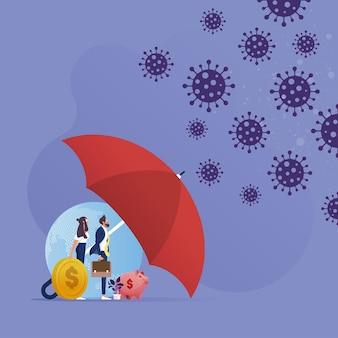 Azienda commerciale sotto l'ombrello enorme che protegge dall'attacco del coronavirus