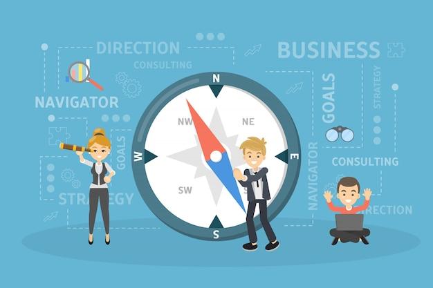 Illustrazione della bussola di affari.