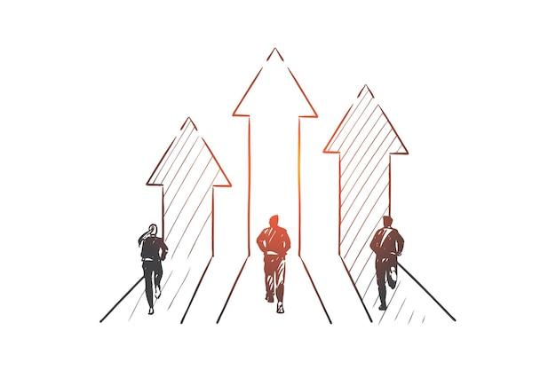 Illustrazione di schizzo di concetto di concorrenza di affari