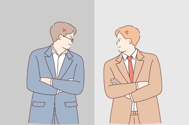 Concorrenza e confronto tra imprese durante il concetto di lavoro.