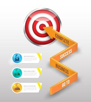La freccia di concetto 3d di affari va all'obiettivo Vettore Premium
