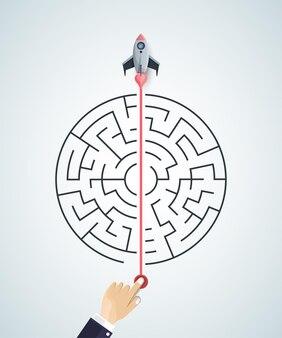 Sfondo di concetto di affari. razzo 3d che trova una soluzione, soluzione dei problemi