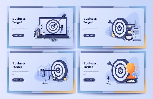 Concetto di business, obiettivo aziendale, obiettivo, realizzazione con clessidra, pila di monete e borsa di denaro. illustrazione