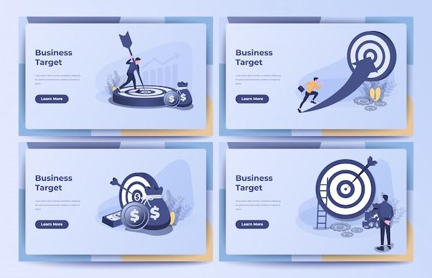 Concetto di business, obiettivo aziendale, obiettivo, realizzazione con un mucchio di monete e sacco di soldi. illustrazione