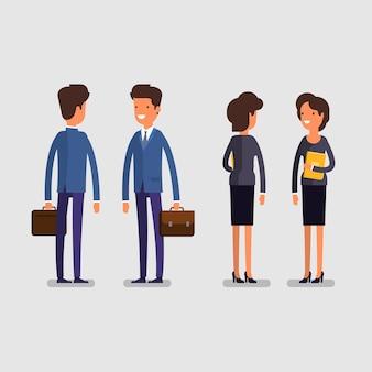 Concetto di affari. uomo e donna di affari del fumetto nelle pose diritte. impiegati, vista anteriore e posteriore. design piatto, illustrazione vettoriale.