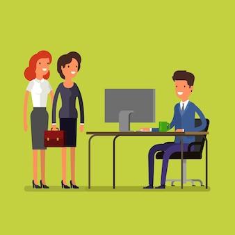 Concetto di affari. uomo e donna di affari del fumetto che lavorano all'ufficio. è ora di apportare modifiche. design piatto, illustrazione vettoriale.