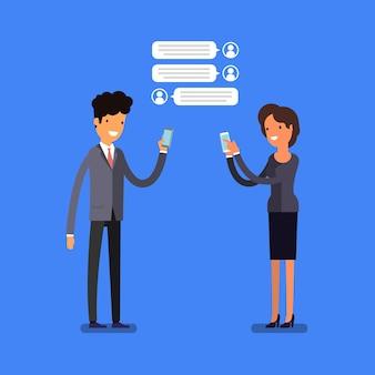 Concetto di affari. gente di affari del fumetto con i telefoni cellulari. stile di vita moderno. design piatto, illustrazione vettoriale.