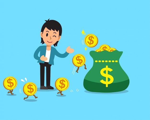 Soldi dei guadagni dell'uomo d'affari del fumetto di concetto di affari