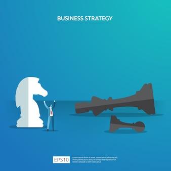 Il concetto di business per la strategia della concorrenza. vincendo l'illustrazione di pianificazione del successo con la figura di scacchi e il carattere dell'uomo d'affari. vittoria nella battaglia di leadership combattendo in stile piatto