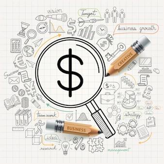 Il concetto di affari scarabocchia le icone impostate.